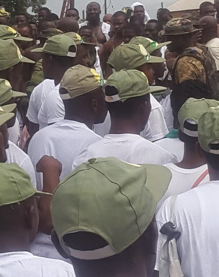 Corps members allegedly stripped naked on Thursday, December 4, 2014, by soldiers in NYSC Permanent orientation camp Nonwa-Gbam Tai Local Government Area, Rivers state.