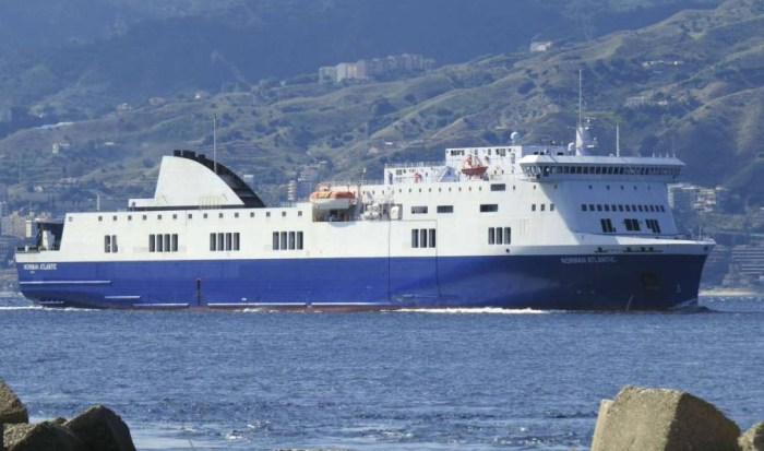 The Norman Atlantic carrying 466 passengers which caught fire in the Adriatic. (Photo Credit: Reuters/Paolo Gangemi)