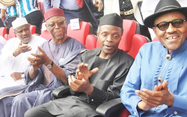 From left: Speaker, house of representatives, Aminu Tambuwal; APC national chairman, John Oyegun; APC vice presidential candidate, Yemi Osinbajo and APC presidential candidate, Muhammadu Buhari, at the APC presidential campaign rally in Port Harcourt, Rivers, on Tuesday, January 6, 2015. (Photo Credit: NAN)