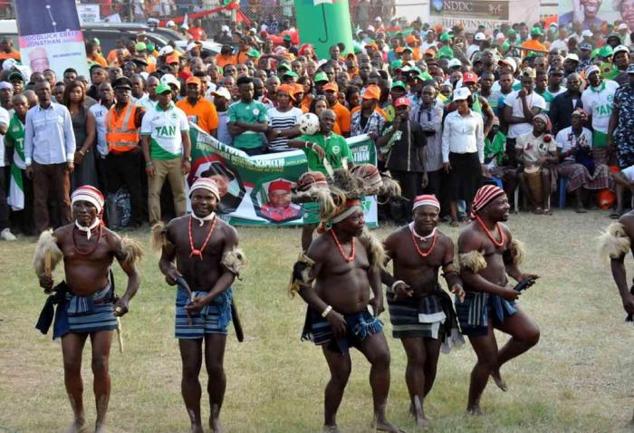 Traditional dancers at the at the PDP presidential campaign rally in Abia State on Friday, January 16, 2015 (Photo Credit: Reuben Abati)