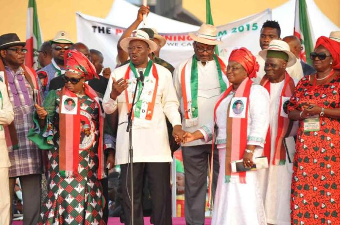 President Jonathan and his campaign train at the PDP presidential campaign rally in Abia State on Friday, January 16, 2015 (Photo Credit: Reuben Abati)