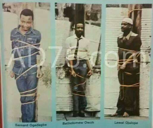 Bernard Ogedengbe (29), Bartholomew Owoh (26) and Lawal Ojuolape (30) publicly executed by Buhari for a crime that did not carry the death penalty at the time of the offence. (Photo Credit: ad76.com)