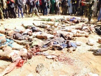 Remains of terrorists after the attack