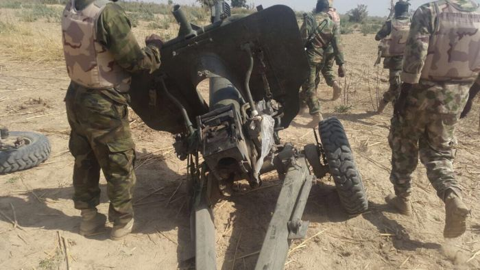 one of the artillery piece captured in Borno (Photo Credit: Nigerian Military)