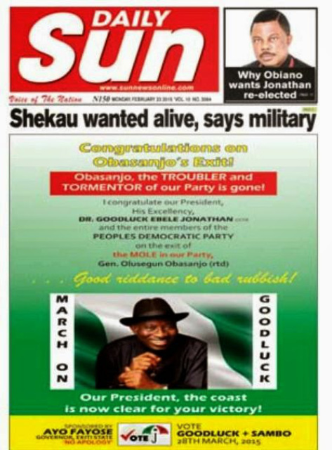 Governor Fayose controversial front page adverts