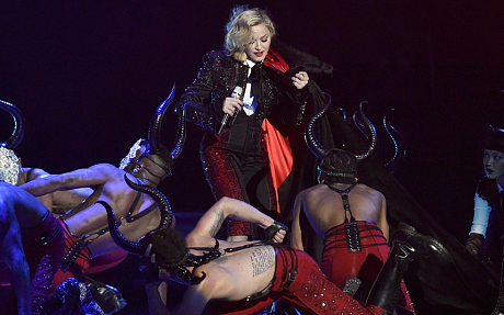 Pop singer Madonna during her performance at the 2015 BRIT Award at The O2 Arena in London on Wednesday, February 25, 2015 (Photo Credit: Mail Online)