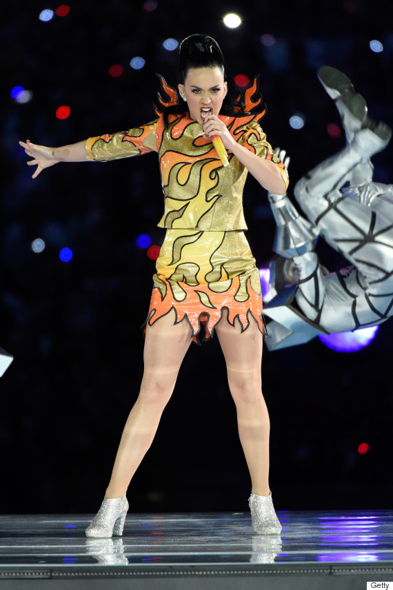 Katy Perry Super Bowl Performance on Sunday, February 1, 2015 (Photo credit: Huffington Post)