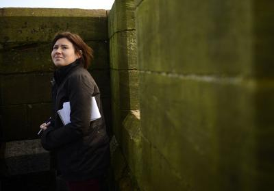 Maria Golovnina on assignment for Reuters in Dalton-in-Furness in northern England in 2012.(Photo Credit:Dylan Martinez/Reuters)