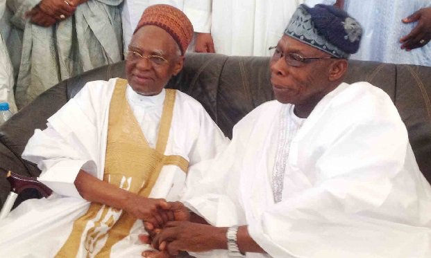 Olusegun and Shehu Shagari at the 90th birthday celebration of the lattar held in Sokoto on Wednesday, february 25, 2015 (Photo Credit: The Cable)