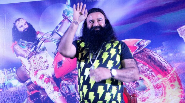 Gurmeet Ram Rahim Singh promotes his movie Messenger of God in the southern Indian state of Kerala earlier this month. (Photo Credit: AFP)
