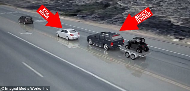 Pictoral representation of Bruce Jenner's accident in Malibu (Photo credit: Mail Online)