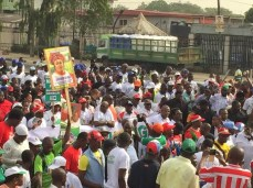 FLOP: APC stages a supposed one-milion-man march for its presidential candidate, former military dictator Muhammed Buhari in Lagos, March 7, 2015, only a few thousands show up (Photo Credit: The Scoop)
