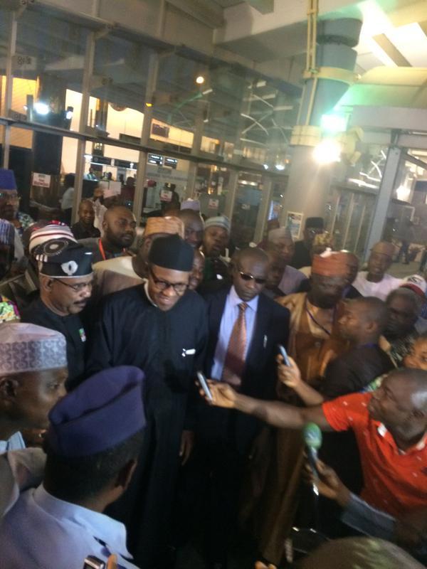 General Buhari at the airport (Photo Credit: The Scoop)