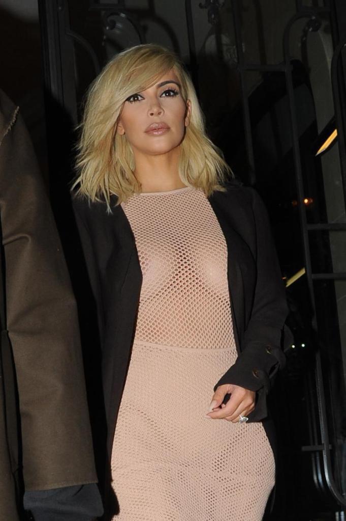 Newly Blond Kim Flashes Nipples & Flaunts PDA With Kanye