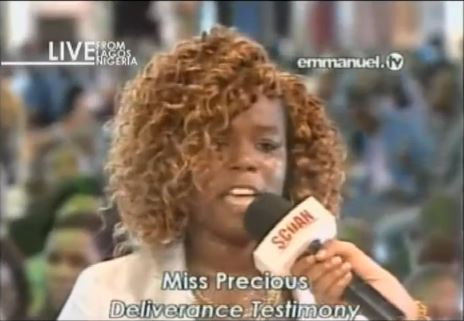 Young lady identified as Precious who was declared missing over a decade ago in Ghana has turned up at Pastor T.B. Joshua's church in Lagos on Sunday, March 15, 2015 with a harrowing tale to tell.