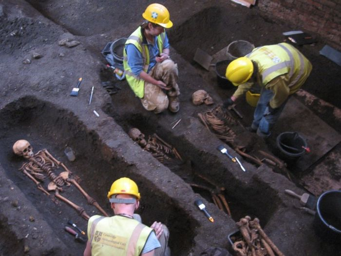 The Cambridge Archaeological Unit excavated bodies that were found beneath the Old Divinity School at St John's College, Cambridge, seen here in an undated handout photo.  (Photo Credit: Craig Cessford/Department of Archaeology and Anthropology/University of Cambridge)