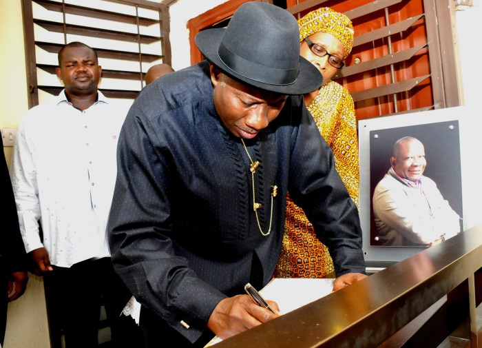 President Goodluck Jonathan signs condolence register at the home of Oronto Douglas on the day he died on April 9, 2015 (State House Photo)