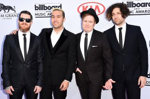 LAS VEGAS, NV - MAY 17: (L-R) Musicians Andy Hurley, Pete Wentz, Patrick Stump, and Joe Trohman of Fall Out Boy attend the 2015 Billboard Music Awards at MGM Grand Garden Arena on May 17, 2015 in Las Vegas, Nevada. (Photo by Jason Merritt/Getty Images)