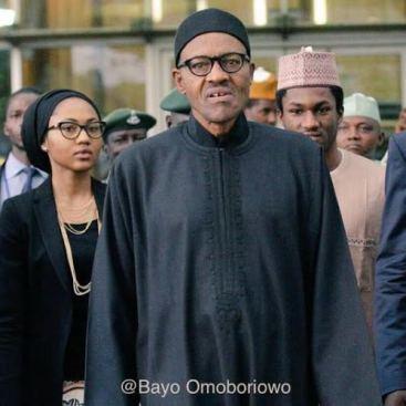 Buhari and children, Zahra and Yusuf (Credit: Bayo Omoboriowo)