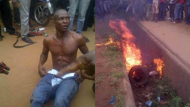 One of the suspects who before he was set ablaze by some angry crowd after he stole a 'Ghana Must Go' bag from a woman believed to be a bank cashier in Nkpor, Idemili North Local Government Area of Anambra State. (Photo Credit: CKN)