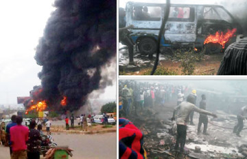 A pregnant woman and 49 other persons were on Sunday, May 31, 2015 roasted to death as a fuel tanker ran into a building and caught fire at the Upper Iweka Roundabout in Onitsha, Anambra State. (Photo Credit: Hotexclusive.com)