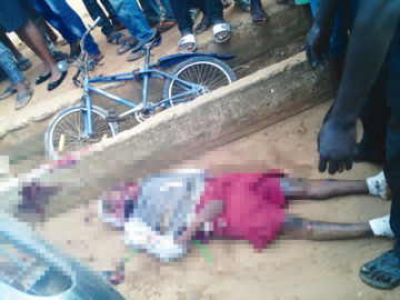 Opeyemi Osibanjo, pictured after he was knocked down and killed by a police officer on Abeokuta Road, Ijebu Ode, Ogun State. (Photo Credit: Punch)