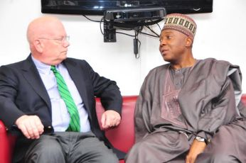 American Ambassador James F Entwistle in a tete a tete with the Senate President during the coutesy visit (Credit: Tope Brown)