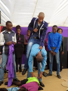 Prophet Penuel riding a church member whom he turned into 'a horse' (Photo Credit: Facebook)
