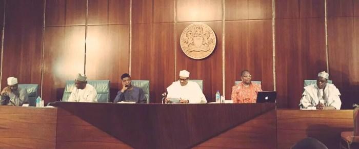 President Muhammadu Buhari, Vice President Yemi Osinbajo and Coordinator of the #BringBackOurGirls group, Oby Ezekwesili at the Presidential Villa on Wednesday, July 8, 2015