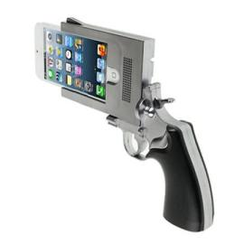 Police officials and anti-gun advocates are calling for a ban on the trending Gun-shaped iPhone covers that look like real gun. (Photo Credit: New York Daily)