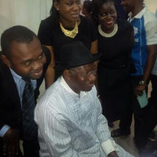 Former President Goodluck Jonathan all smiles in a First Bank branch in Gwarimpa Abuja on Monday, July 13, 2015.