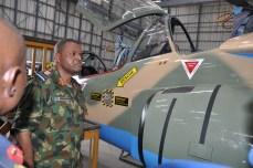 The Chief of Air Staff, Air Vice Marshal SB Abubakar inspecting Alfa Jet Aircraft during his Operational Visit to 99 ACTG Kanji .