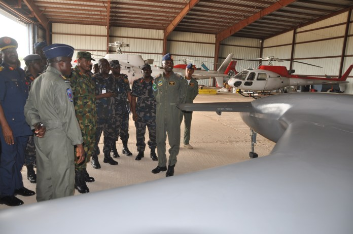The Chief of Air Staff, Air Vice Marshal SB Abubakar inspecting Unmanned Aerial Vehicle during his operational Visit to 75 Strike Group Yola