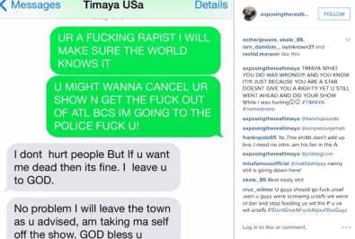 Timaya's sex abuse chat with US based lady, Shella which she released on Instagram on Saturday, July 25, 2015. (Photo Credit: Shella/Instagram)