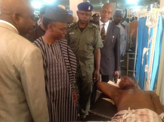 Governor Nasir EL-Rufai and one of the Zaria bomb victims on Tuesday, July 7, 2015 (photo credit: Olorisupergirl)