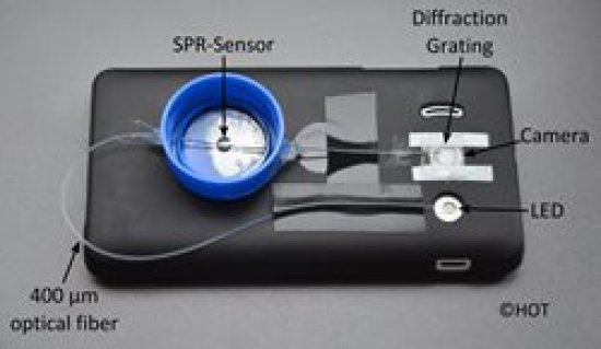 A fiber optic surface plasmon resonance (SPR)-sensor developed for smartphones. (Photo Credit: Kort Bremer, Hanover Centre for Optical Technologies)
