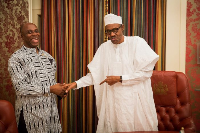 Director General of the Buhari Presidential Campaign, Rotimi Amaechi pays visit to then, President Elect, General Muhammadu Buhari