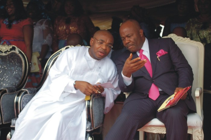 Governor Udom Emmanuel (left) with Senator Godswill Akpabio pictured at an event in 2014