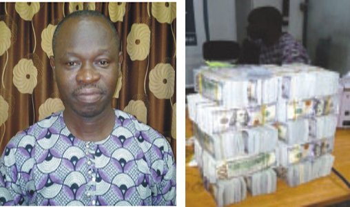 Ibiteye after his arrest...on July 3, 2015, (right) The cash said to have been found on Ibiteye