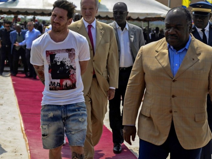 Lionel Messi & Ali Bongo during the soccer star's recent visit to Gabon (Photo Credit: elsol.com.ar)