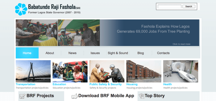 Screengrab for the Tunde Fashola website, www.tundefashola.com which was upgraded at a cost of N78.3 million in 2014