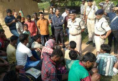 Some police officers and the suspects arrested for stoning five women to death on Friday August 7,2015 after accusing them of witchcraft in India. (Photo Credit: AFP)