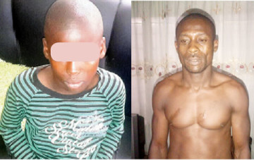 A 39-year-old father of three, Ekpeyong Essien, (Right) defiled a nine-year-old girl, Bright Benjamin, (Left) on Sunday, July 12, 2015 in Cross River State.(Photo Credit: Southern City News)