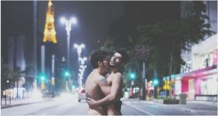 A gay couple, identified as Felippe and Marlon, were pictured completely naked in the middle of a busy street in Sao Paulo Brazil to protest discrimination against homosexuals in the country.