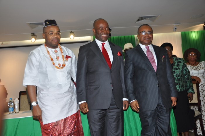 L-R: Newly sworn in Secretary to the State Government, Mr. Udom Gabriel Emmanuel, Governor Godswill Akpabio, and outgoing Secretary to the State Government, Obong Umana Okon Umana, July 2013. Umana served in the position for 6 years.