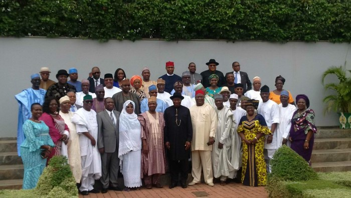 Group photo of President Jonathan and his cabinet, taken shortly before the end of his tenure.  (State House Photo)