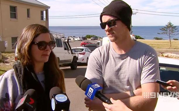Terrified couple, Chris and Kate woke up around 2am on Monday, August 17, 2015 to discover a naked man sleeping beside them in Sydney. (Photo Credit: 9 News)