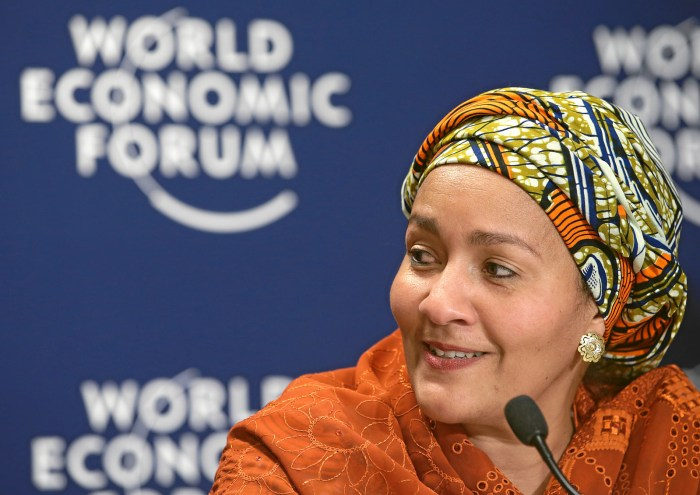Amina J. Mohammed, United Nations Secretary, Generals's Special Adviser on Post-2015 Development Planning, Nigeria smiles during the press conference 'Breaking Silos in Development' at the Annual Meeting 2014 of the World Economic Forum at the congress centre in Davos, January 23, 2014. | WEF/Nicola Pitaro