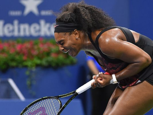 Serena Williams of the USA winning the 3rd game in the second set against Venus Williams of the USA on day nine of the 2015 U.S. Open tennis tournament at USTA Billie Jean King National Tennis Center. (Photo Credit: Robert Deutsch, USA TODAY Sports)
