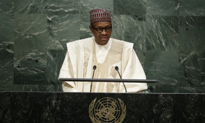 President Muhammadu Buhari addresses the United Nations General Assembly in September 2015| Frank Franklin II/AP